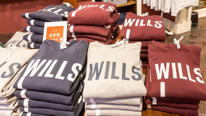 RK2ECH Interior of a Jack Wills clothing store in Manchester city centre,England