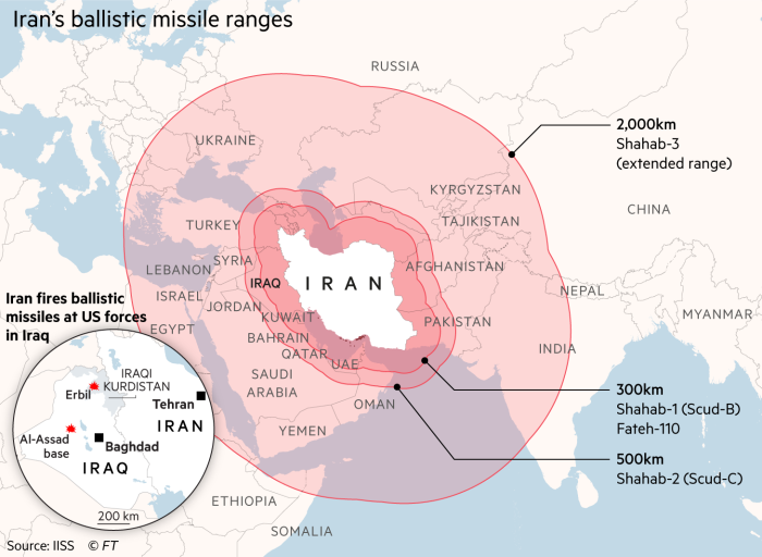 Map of Middle East showing range of Iran's ballistic missiles and locations of two bases in Iraq that were attacked
