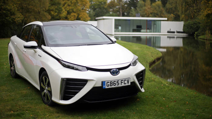 Toyota Mirai...The first mass production dedicated  Hydrogen fuel cell vehicle, the Toyota Mirai, goes through it paces in Denham, Buckinghamshire. PRESS ASSOCIATION Photo. Picture date: Monday October 19, 2015. The Mirai was unveiled at the November 2014 Los Angeles Auto Show and Toyota planning to build 700 vehicles for global sales during 2015