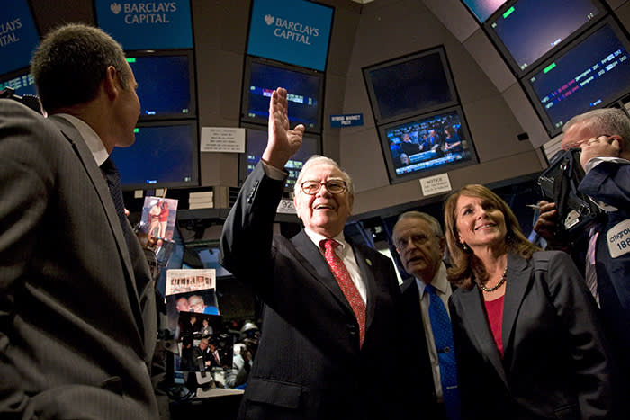 Buffett touring the floor of the New York Stock Exchange in 2011. Over the past 54 years, shares in his company have outpaced the S&P 500 by almost 2.5 million percentage points