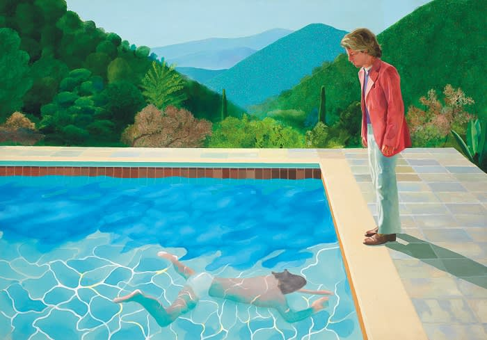 """David Hockney's """"Portrait of an Artist (Pool with Two Figures),"""" Thursday, Sept. 13, 2018, in New York. One of the British artist's famous """"pool paintings"""" will be auctioned at Christie's in November, and is considered one of his premier works. Christie's has estimated the work at about $80 million, but says it expects it to sell for more."""