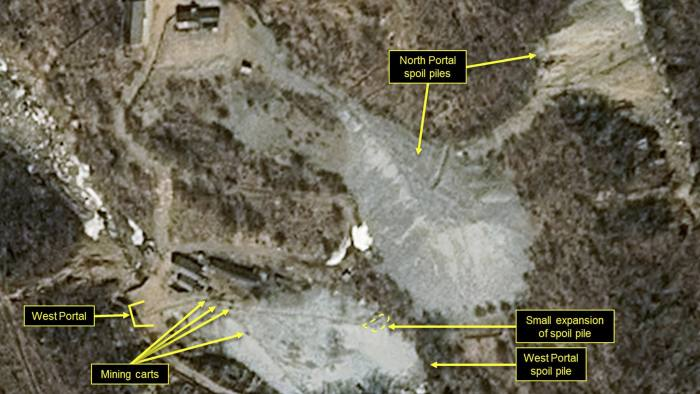 This satellite image released and notated by Airbus Defense & Space and 38 North on March 30, 2018, shows the Punggye-ri nuclear test site in North Korea. North Korea said Saturday, May 12, 2018 that it will dismantle its nuclear test site between May 23 and 25, in a dramatic event that would set up leader Kim Jong Un's summit with President Donald Trump next month. (Airbus Defense and Space/38 North via AP)