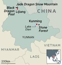 Map of Jade Dragon Snow Mountain, China