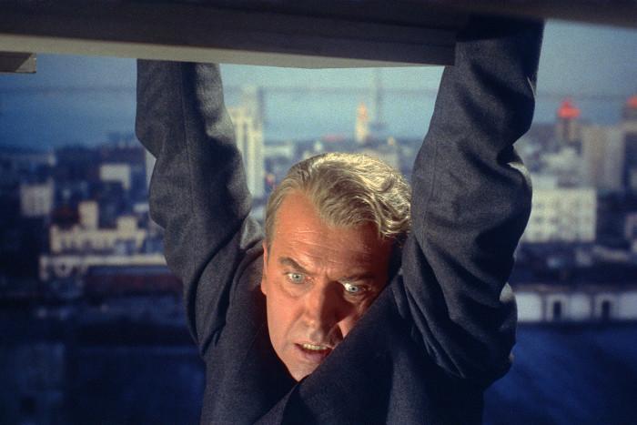 "James Stewart as John ""Scottie"" Ferguson in an opening scene from the film, from ""The Vertigo Project"""