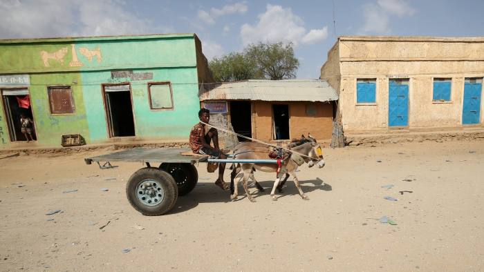 A man rides a donkey cart in Badme, a territorial dispute town between Eritrea and Ethiopia currently occupied by Ethiopia, June 8, 2018. Picture taken June 8, 2018. REUTERS/Tiksa Negeri