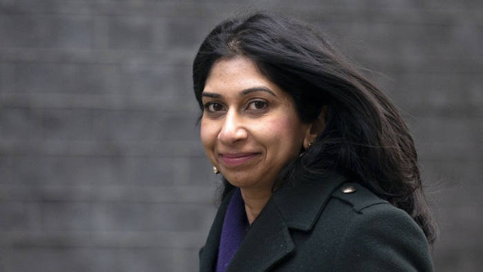 epa08285277 Britain's Attorney General Suella Braverman arrives for a cabinet meeting at Downing Street in London, Britain, 11 March 2020. Chancellor of the Exchequer Sunak is set to deliver his first Budget statement to MPs (Members of Parliament) at the House of Commons.  EPA-EFE/WILL OLIVER