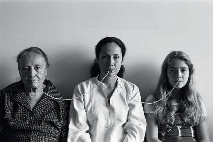 By a Thread, from the series Photopoemaction (1976). Photo: Regina Vater