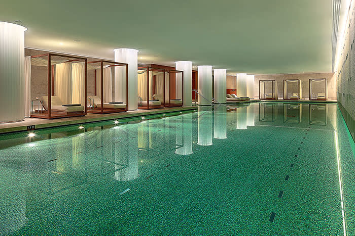 The Bulgari spa boasts a pool that is covered in gold-leaf tiles