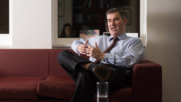 David Gauke Secretary of State for Justice and Lord Chancellor being interviewed for the FT in the Ministry of Justice, London. Credit: David Parry/ FT
