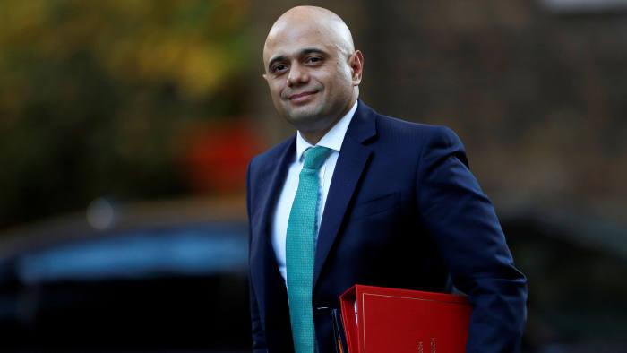 Britain's Home Secretary Sajid Javid arrives in Downing Street, London, Britain, November 13, 2018. REUTERS/Peter Nicholls - RC15A83A6720