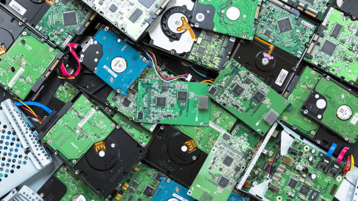 Circuit boards of computer hard drives, cables, connections and terminals (Photo by Tim Graham/Getty Images)