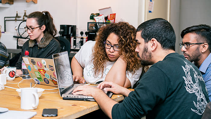 Students unpick coding problems on the Founders & Coders course