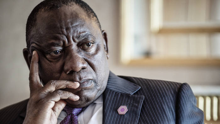 18/4/2018 Cyril Ramaphosa, President of South Africa, photographed during an interview with the Financial Times this afternoon at the Hilton, Park Lane, London.
