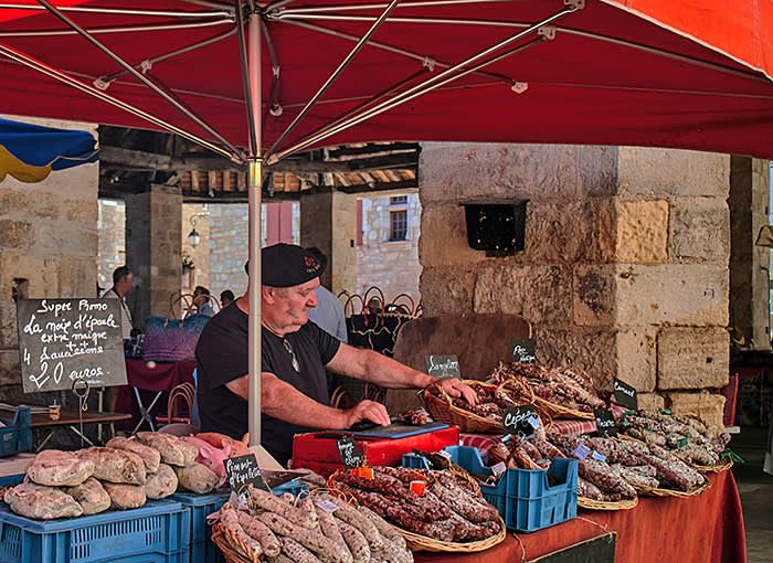 Europe. France. Occitanie. Lot. Martel city. street .old square. Sunday market. (Photo by: Mahaux Charles/AGF/UIG via Getty Images)