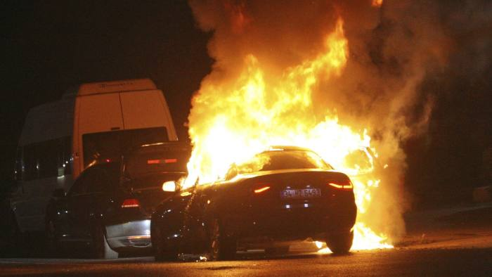 A car burns during firefight between Turkish army and Turkish police, in Istanbul's Taksim square, early Saturday, July 16, 2016. Members of Turkey's armed forces said they had taken control of the country, but Turkish officials said the coup attempt had been repelled early Saturday morning in a night of violence, according to state-run media. (AP Photo/Cavit Ozgul)