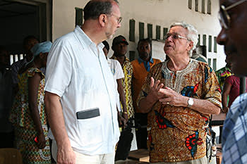 Piot is reunited with Father Carlos Rommel, who has worked in the Congo for 51 years