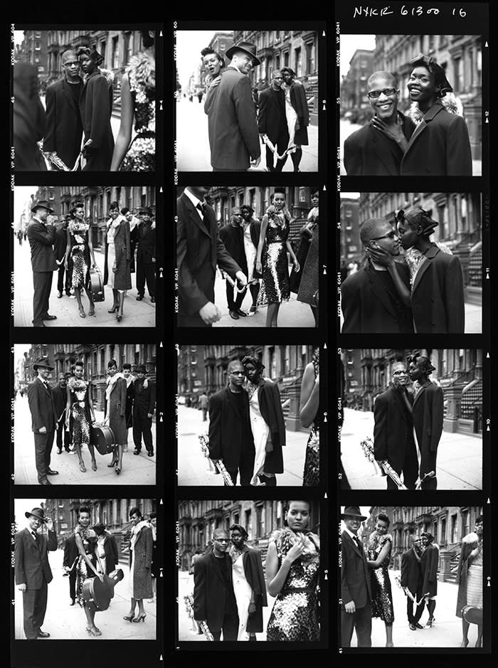 Contact sheet showing musicians and models in Harlem, 2000