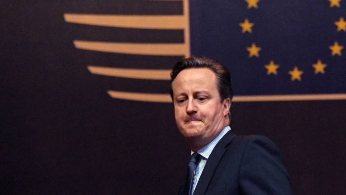 British Prime Minister David Cameron leaves the EU Council building after an EU summit in Brussels on Friday, Feb. 19, 2016. European Union leaders are continuing a two-day summit in Brussels to hammer out a deal designed to keep Britain in the 28-nation bloc. (AP Photo/Geert Vanden Wijngaert)