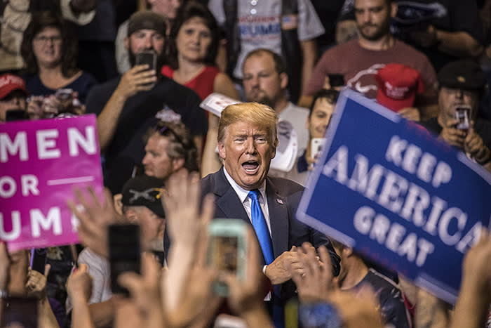 US president Donald Trump at a rally last August in Pennsylvania