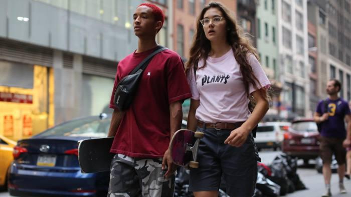 Jaden Smith, left, and Rachelle Vinberg in 'Skate Kitchen'