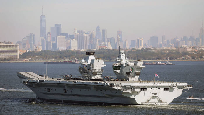 Ministry of Defence handout photo dated 19/10/18 of the UK's new aircraft carrier HMS Queen Elizabeth arriving in New York City. PRESS ASSOCIATION Photo. Issue date: Friday October 19, 2018. See PA story DEFENCE Carrier. Photo credit should read: LPhot Kyle Hellers/Royal Navy/MoD/Crown copyright/PA Wire NOTE TO EDITORS: This handout photo may only be used in for editorial reporting purposes for the contemporaneous illustration of events, things or the people in the image or facts mentioned in the caption. Reuse of the picture may require further permission from the copyright holder.
