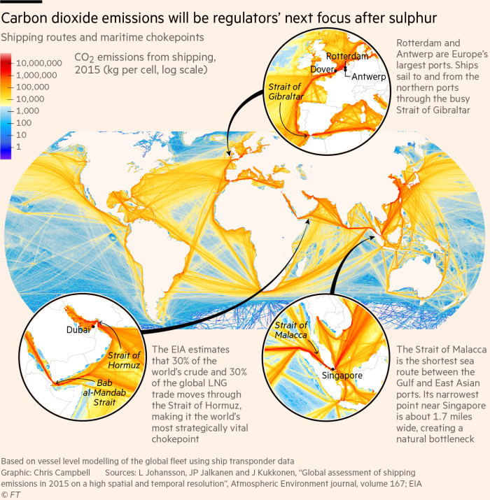 Map showing carbon dioxide emissions by ships in 2015
