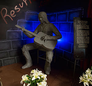 A statue of Cobain in his hometown of Aberdeen, Washington
