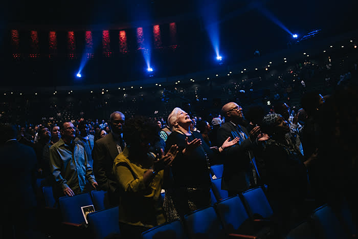 A Sunday service at Lakewood Church, Houston