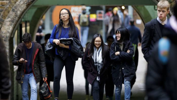 Students of UCL walking near the campus on Malet Place in London on November 7, 2017. Picture credit: Tolga Akmen