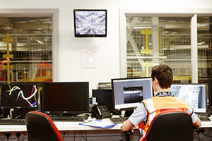 The control room. Parcels are processed five nights a week, from 8pm to 4am