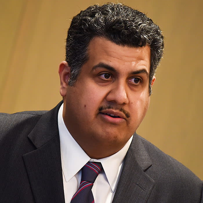 Khalid Al Hussan, chief executive officer of Saudi Stock Exchange (Tadawul), speaks as he visits the Tokyo Stock Exchange (TSE) in Tokyo, Japan, on Tuesday, March 14, 2017. Japan Exchange Group Inc. (JPX) and Saudi Stock Exchange signed memorandum of understanding to build closer relationship through the exchange of information and to assist in each other in market development. Photographer: Noriko Hayashi/Bloomberg