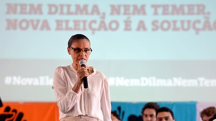"Brazilian former senator and presidential candidate Marina Silva speaks during the launching of the campaign ""Nor Dilma, Nor Temer. New election is the solution"" in Brasilia, in April 5, 2016. Marina Silva calls for new elections on October as a solution for the Brazilian political crisis. / AFP / EVARISTO SA (Photo credit should read EVARISTO SA/AFP/Getty Images)"