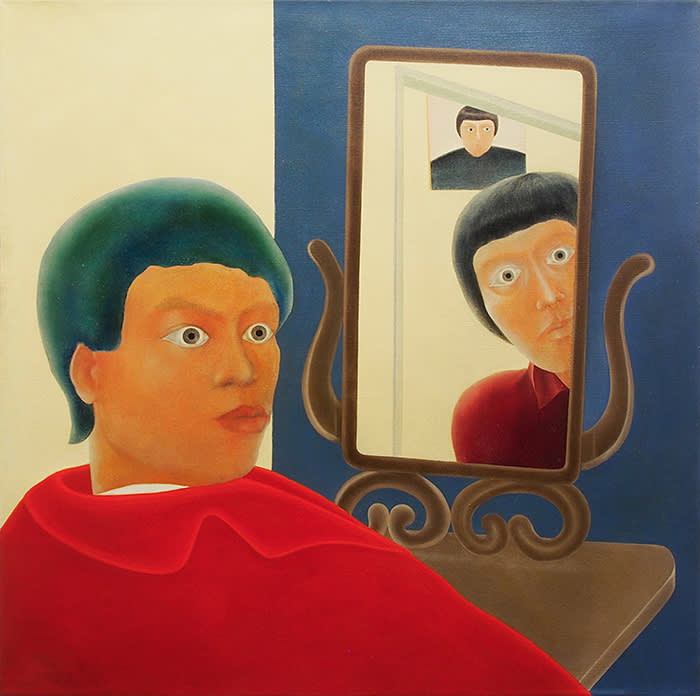Chen Hilo Self Portrait and Mirrors, 1969 Oil on canvas, 111.8 x 111.8 cm Courtesy Each Modern.