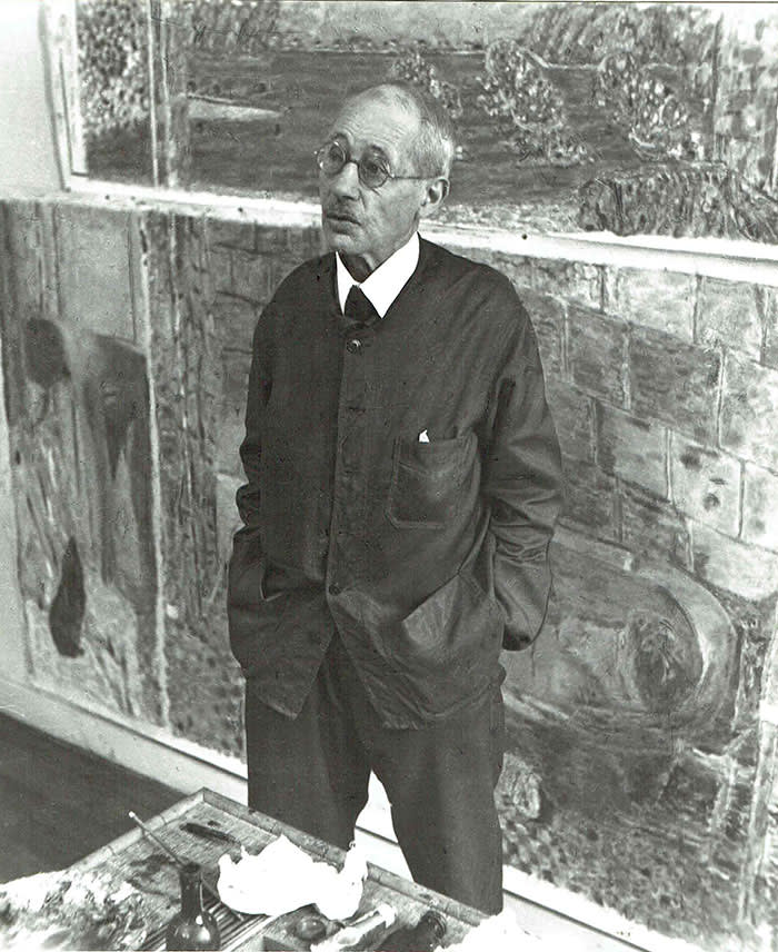 Pierre Bonnard in his studio at Le Cannet in 1941