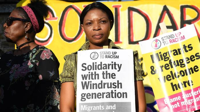 epa06682141 People gather for a Windrush generation solidarity protest in Brixtron, London, Britain, 20 April 2018. As claims emerge that the Home Office destroyed thousands of landing cards documenting the arrival of windrush-era migrants, communities in Brixton gathered in Windrush Square in solidarity with those threatened with deportation, sacking and the removal of healthcare as result of the governments 'hostile environment' strategy. British Home Secretary Amber Rudd 's apology and promise to devote resources to resolve cases represents a significant climbdown. However growing awareness of the immense suffering already caused means pressure is building for the government to reverse its policy targeting undocumented migrants. EPA/ANDY RAIN
