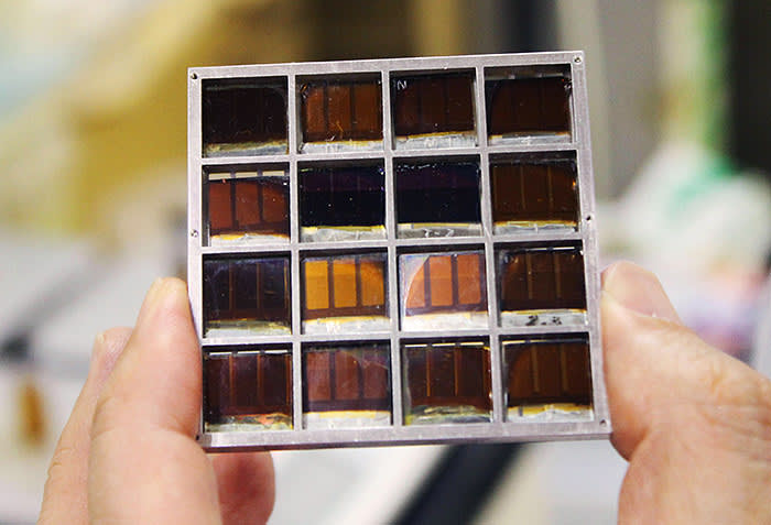 JP74YF A solar cell on which the crystalline material perovskite is applied is shown at Toin University of Yokohama on March 18, 2015. The cell with perovskite layer is relatively simple to produce and has been quickly achieving improved conversion efficiency. A team led by Tsutomu Miyasaka, a professor at the university, reported in 2006 that perovskites can be used for photovoltaics. (Kyodo) ==Kyodo