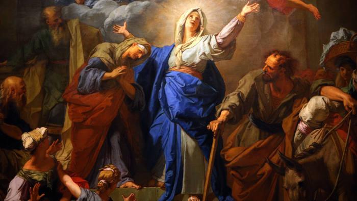 Jean Jouvenet, The Magnificat (The Visitation), 1716, Notre-Dame, Paris. PARIS, FRANCE, APRIL 04, 2017 : interiors decor of notre dame de Paris cathedral, april 04, 2017, in Paris, France