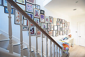 Landing with a wall of framed photographs