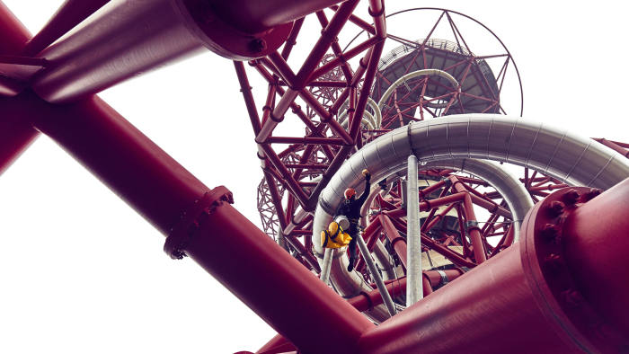 Thursday 23rd February 2017: For the very first time, daredevil abseilers have taken on the precarious task of cleaning the world's longest and tallest tunnel slide at the ArcelorMittal Orbit in Queen Elizabeth Olympic Park. Suspended 249ft in the air, the same height as a 25 storey building, the highly skilled team were put to the test as they abseiled an unconventional path through the tight twists and turns of The Slide to begin an early spring clean of the hair-raising new attraction. For more information contact the Press Office at Queen Elizabeth Olympic Park on +44 (0) 20 3734 9010 or email press@QueenElizabethOlympicPark.co.uk PR Handout Copyright: © Mikael Buck / ArcelorMittal Orbit