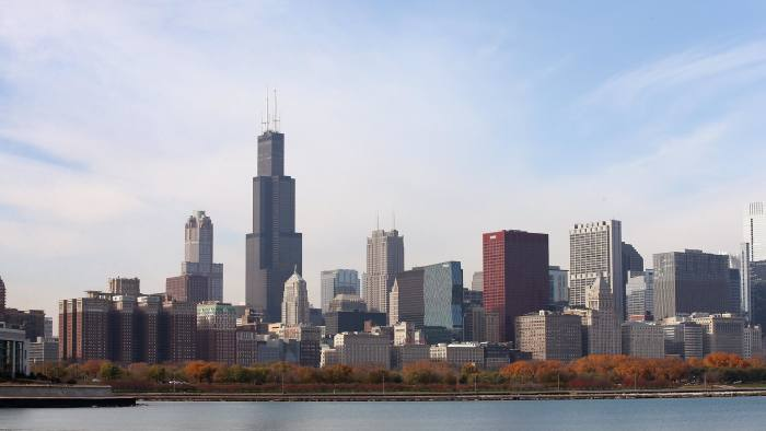 The Willis Tower rises above the city's skyline on Nov 8 2013 in Chicago, Illinois
