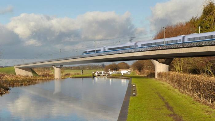 """Undated handout image of an artist's impression of an HS2 train on the Birmingham and Fazeley viaduct, part of the proposed route for the HS2 high speed rail scheme. Transport Secretary Grant Shapps has said """"any outcome is possible"""" on HS2 amid fears the project could be scrapped after a review into its future is completed. PRESS ASSOCIATION Photo. Issue date: Sunday August 25, 2019. The next steps for the project and whether it is going to happen are something """"we will know the answer to"""" by the end of the year once a Government-commissioned independent review has been looked at, he said. See PA story POLITICS HS2. Photo credit should read: HS2/PA Wire NOTE TO EDITORS: This handout photo may only be used in for editorial reporting purposes for the contemporaneous illustration of events, things or the people in the image or facts mentioned in the caption. Reuse of the picture may require further permission from the copyright holder."""