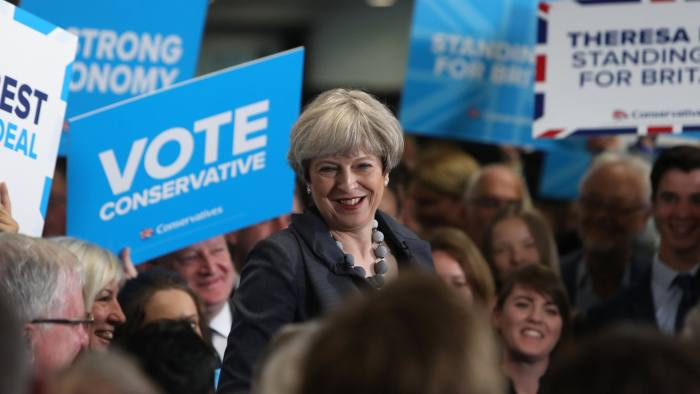 RETRANSMITTED CORRECTIN LOCATION Conservative party leader Theresa May delivers a speech at Derby County FC while on the General Election campaign trail.