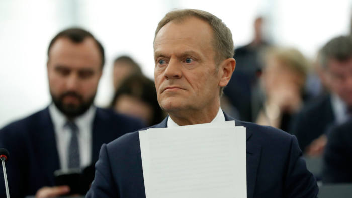 European Council President Donald Tusk at the European Parliament in Strasbourg, France, Tuesday April 16, 2019. (AP Photo/Jean-Francois Badias)