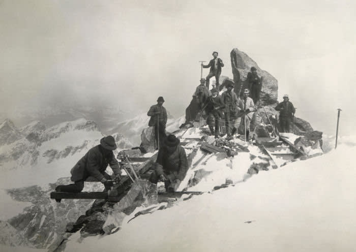 Construction of the Regina Margherita Hut on Monte Rosa, Italy, 19th century.