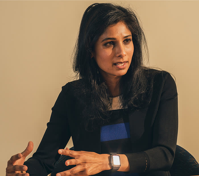 Gita Gopinath, the first woman chief economist at the IMF, at her office in Washington, D.C. on Feb. 5, 2019.