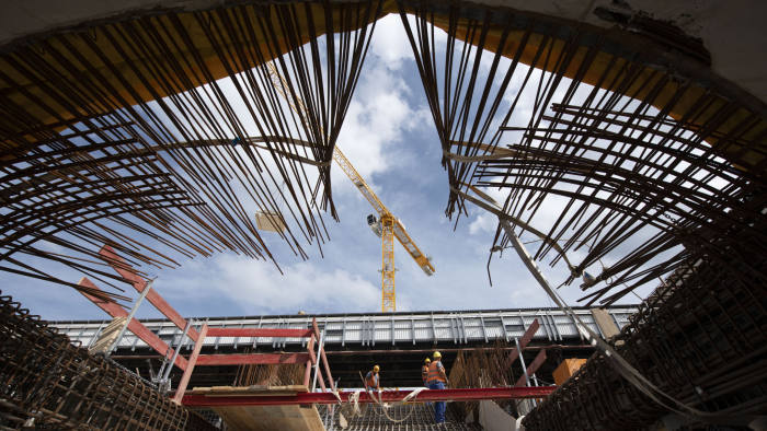 Work on the construction site of the Stuttgart 21 railway project continues at the main station in Stuttgart, southwestern Germany, on August 13, 2019. - The controversial construction project Stuttgart 21 will replace the current terminus station with an underground through station. (Photo by THOMAS KIENZLE / AFP) (Photo credit should read THOMAS KIENZLE/AFP via Getty Images)