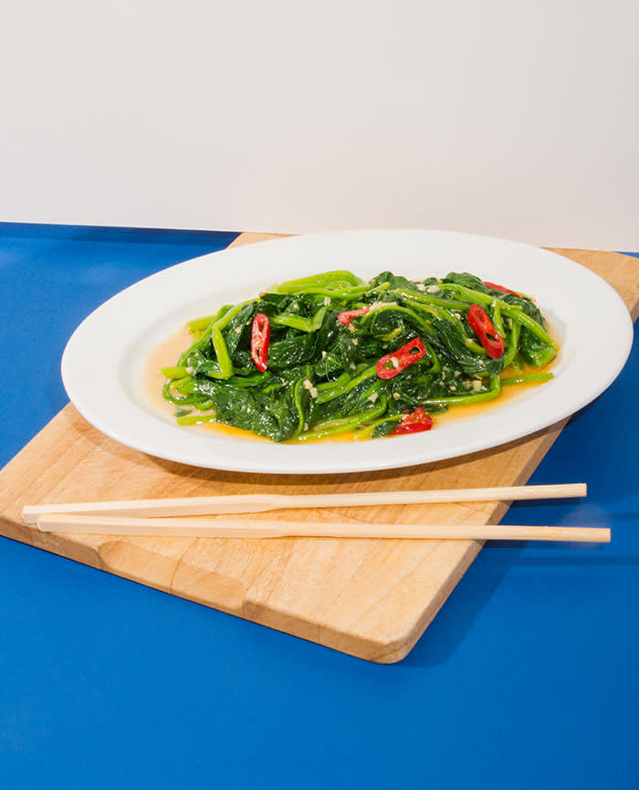 Stir-fried spinach with chilli and fermented tofu