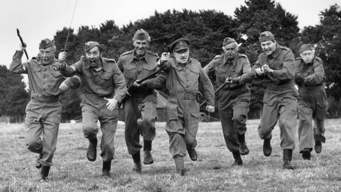 On The Run...20th August 1970: The cast of 'Dad's Army', a popular tv series depicting the activities of the Home Guard, (from left) Clive Dunn, James Beck, John LeMesurier, Arthur Lowe, John Laurie, Ian Lavender and Arnold Ridley at Shepperton Studios where a feature film of their exploits is being made. (Photo by Douglas Miller/Keystone/Getty Images)