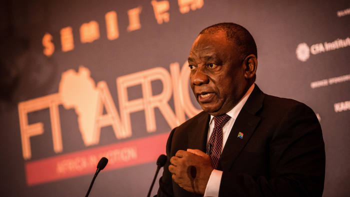 Cyril Ramaphosa talking at the FT Africa Summit