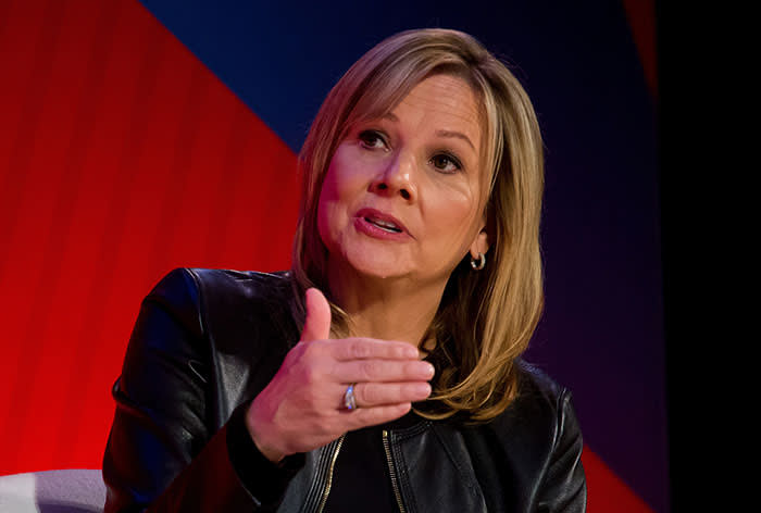 Mary Barra, chairman and chief executive officer of General Motors Co. (GM), speaks during an Advertising Week session in New York, U.S., on Tuesday, Sept. 27, 2016. Earlier this year, GM became the first automaker to livestream on Facebook when it unveiled a new car at the Consumer Electronics Show in Las Vegas. Photographer: Michael Nagle/Bloomberg